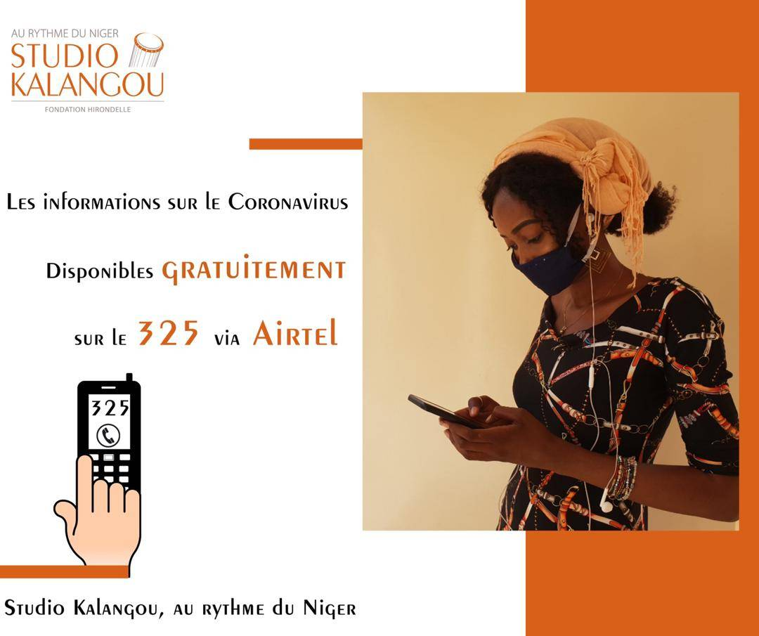 Communication from Studio Kalangou on how to access via a toll-free phone number to its news on the Covid19 in Niger.