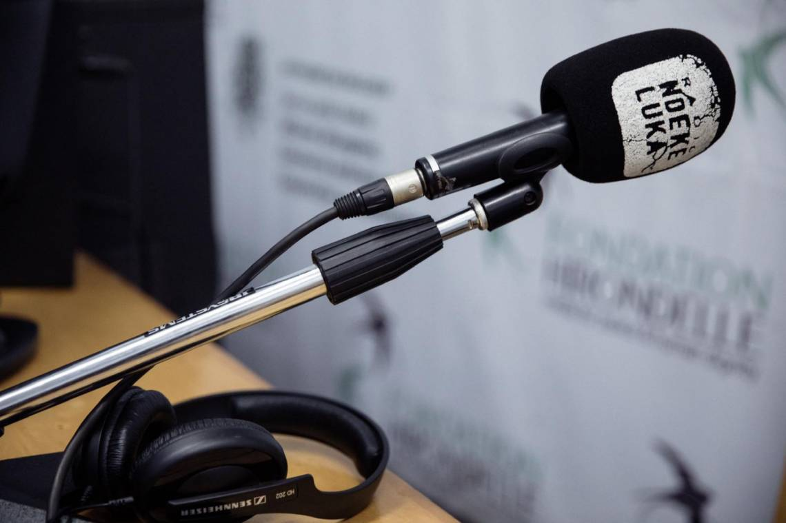 In the studio of Radio Ndeke Luka in Bangui, Central African Republic.