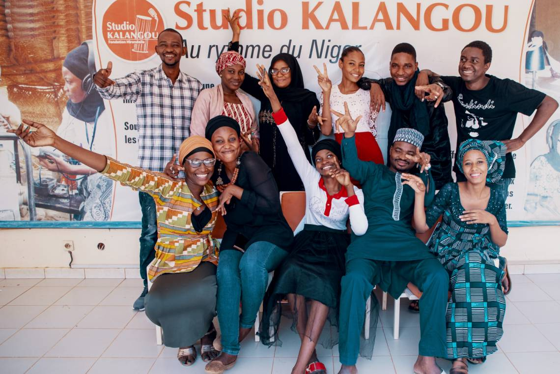 Part of the editorial staff of Studio Kalangou in Niger, including the team in charge of the new youth programs.
