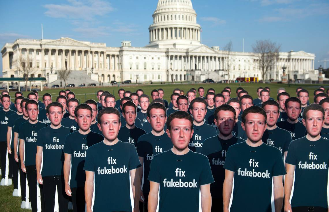 A demonstration in front of the US Capitol in Washington, DC, on April 10, 2018, to call attention to the use of fake accounts on Facebook.