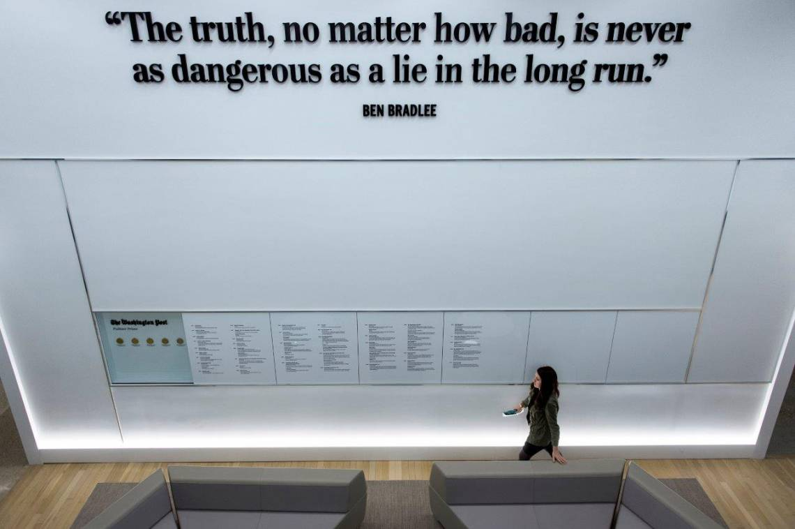 The wall of Pulitzer Prizes in the Washington Post's new building March 3, 2016 in Washington, DC.