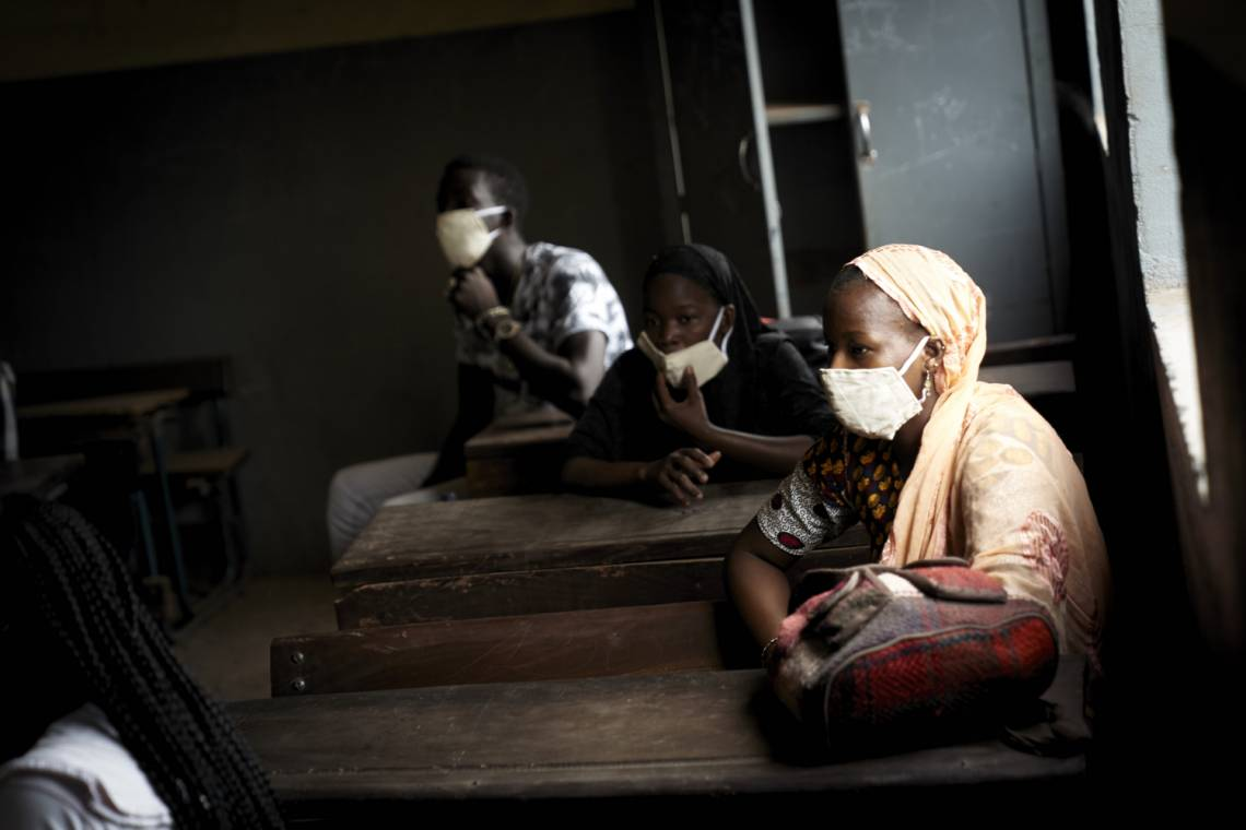 A Malian pupil wears a mask in the classroom of a school in Bamako on 2 June 2020.