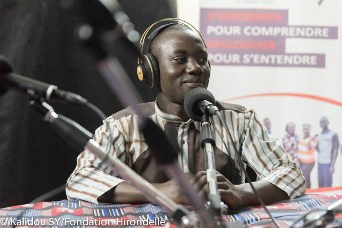 A journalist from Studio Yafa in the studio in Ouagadougou, Burkina Faso.