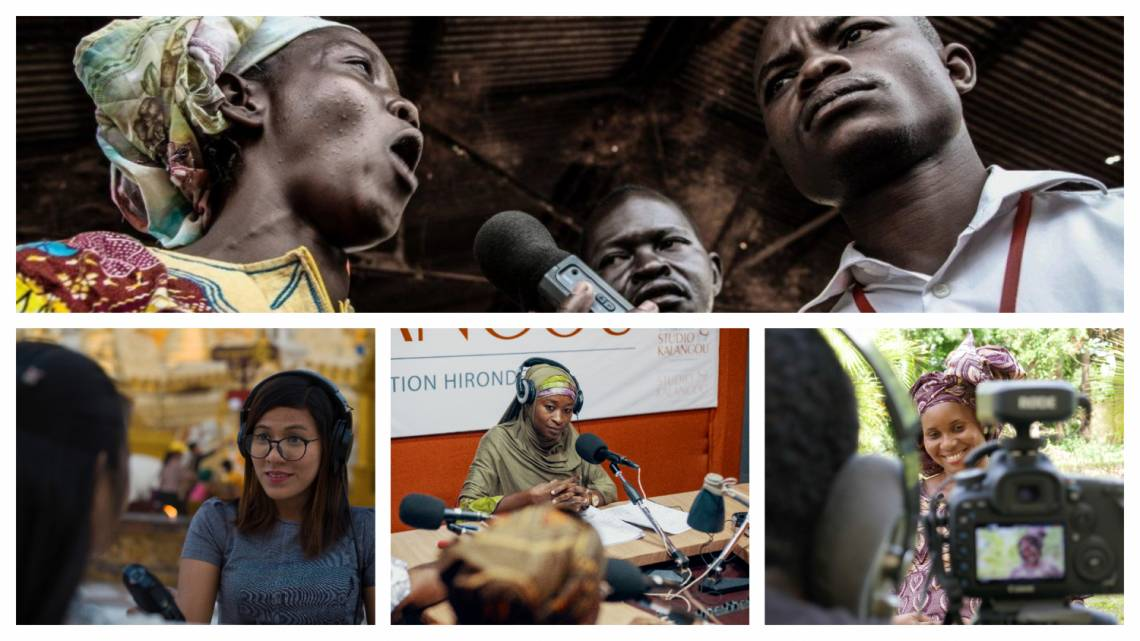 Journalists and guests from Fondation Hirondelle's media and programs in CAR, Myanmar, Niger and Mali.