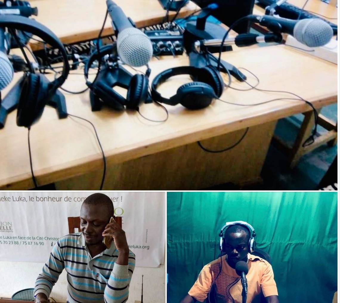 Distance learning session between the Programme Advisor of Radio Ndeke Luka and a partner radio station in the Central African Republic.