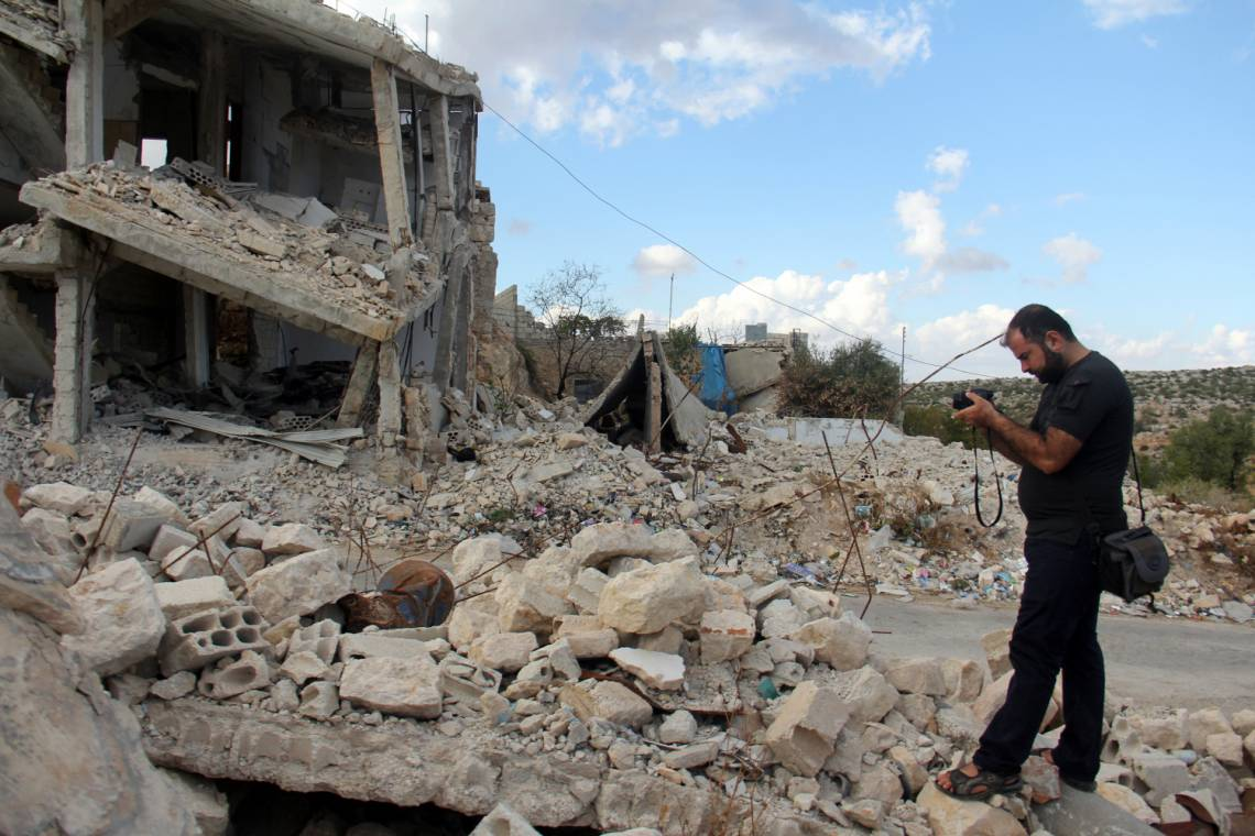 Dans le village syrien de Marayan (province d'Idlib) après un bombardement, en octobre 2017.