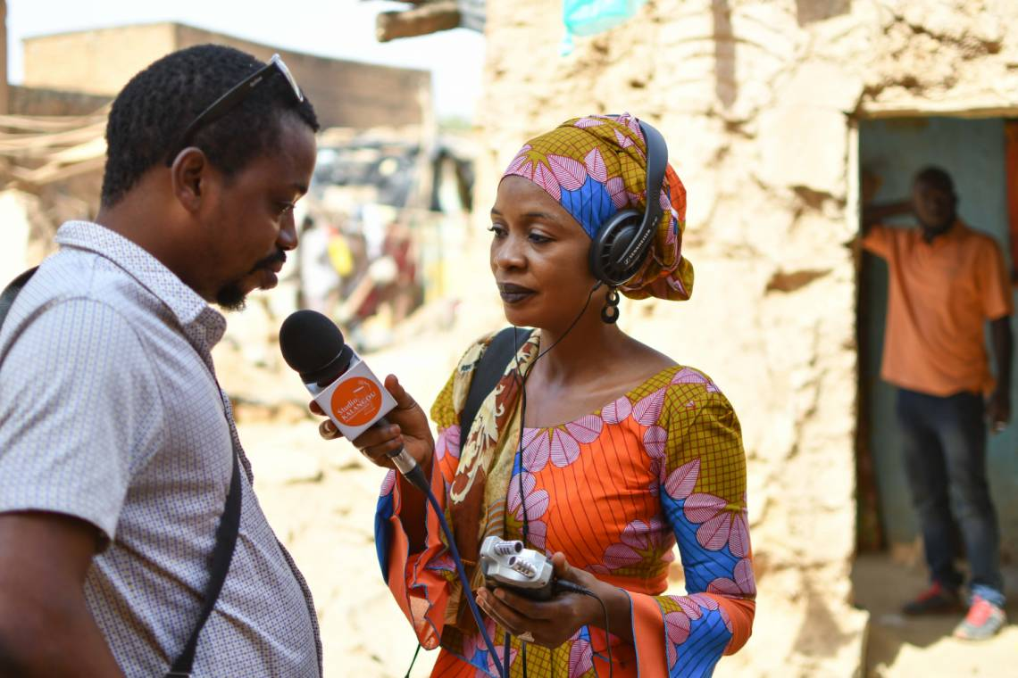 « A journalist from Studio Kalangou reporting in Niamey, Niger »