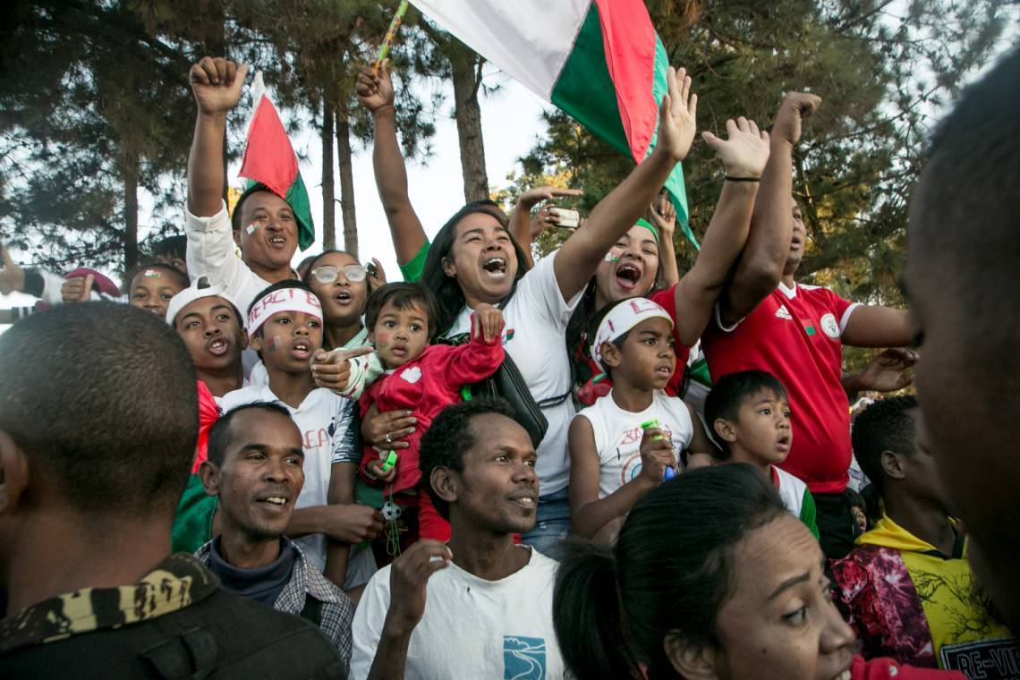 Malagasy people celebrating their national football team's return to Antananarivo after their first qualification to the African Cup of nations (ACN) on 13 of July 2019