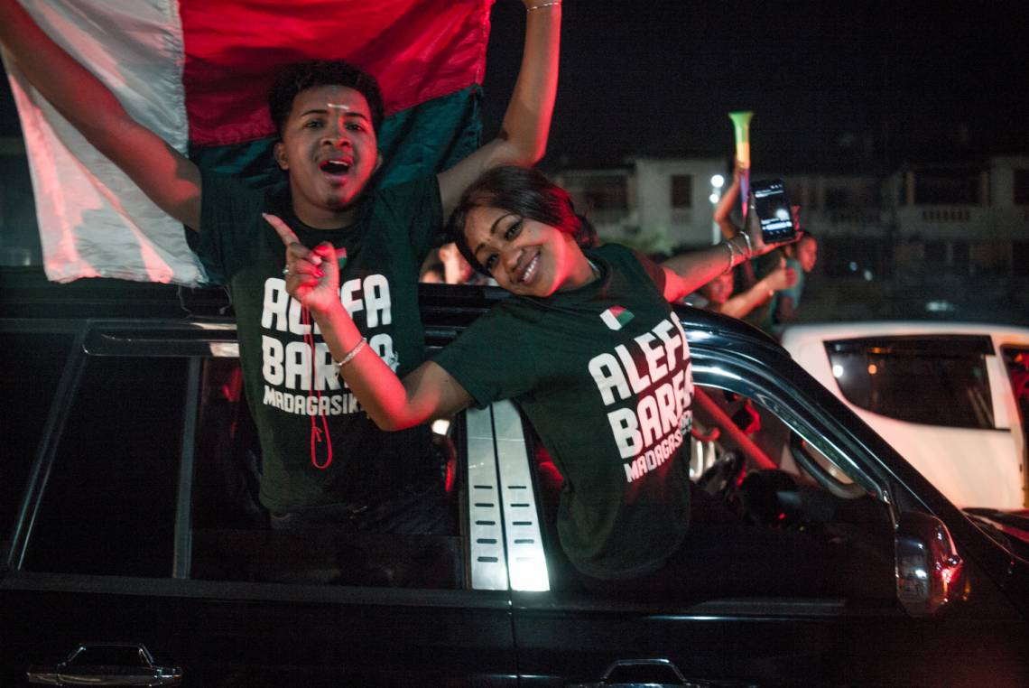 Young Malagasy have a lot of expectations and they need platforms to express themselves. Here young fans in Antananarivo celebrate the victory of their national football team against the Democratic Republic of Congo during the Africa Cup of Nations on 7 July 2019.