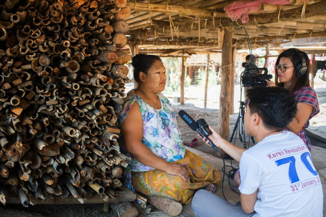 Burmese media journalists working with Fondation Hirondelle in Kayin State, Myanmar