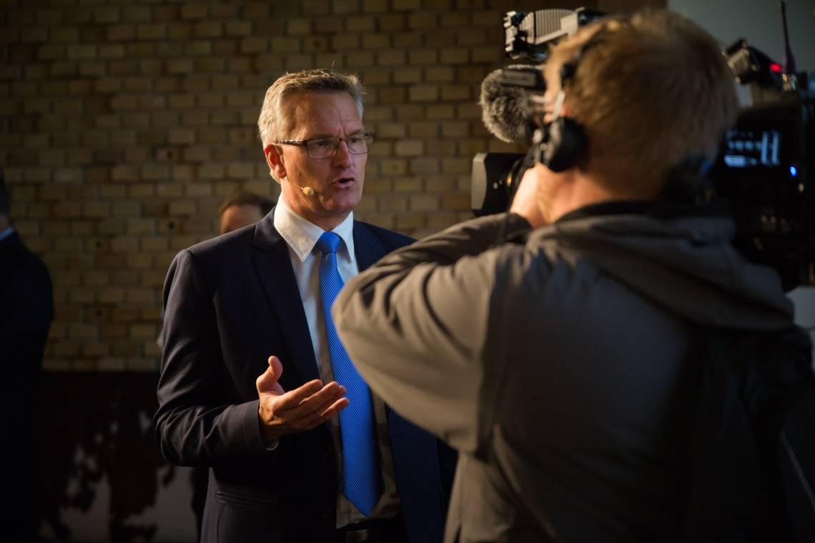 """Ulrik Haagerup lors de la """"Global Constructive Journalism Conference"""" à Aarhus, Danemark, en octobre 2017."""