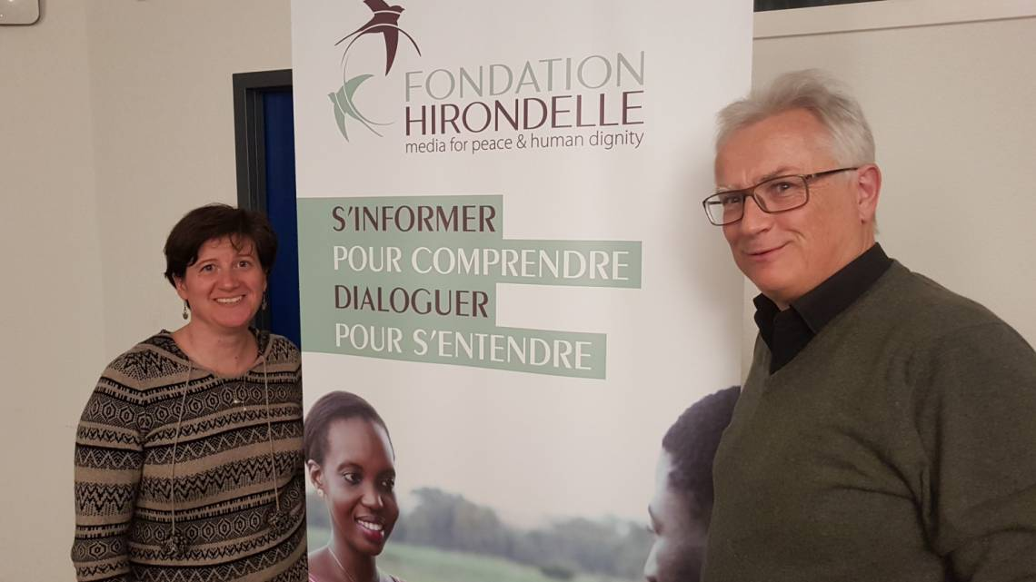 Tony Burgener in Fondation Hirondelle's offices in Lausanne in January 2019, alongside Caroline Vuillemin, Executive Director.