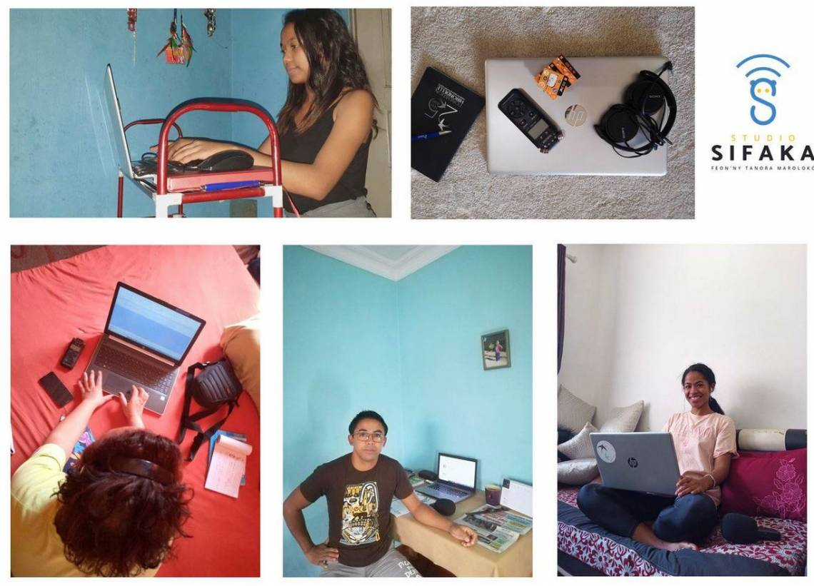 Some of Studio Sifaka's journalists teleworking in Antananarivo, Madagascar.