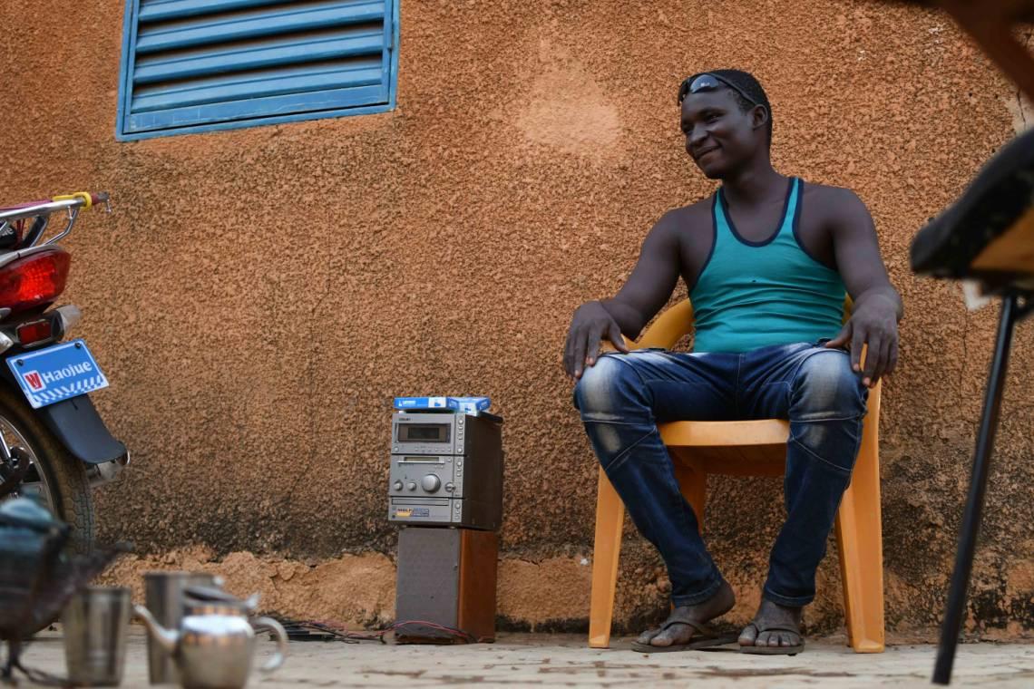 A radio listener in Niamey, capital of Niger