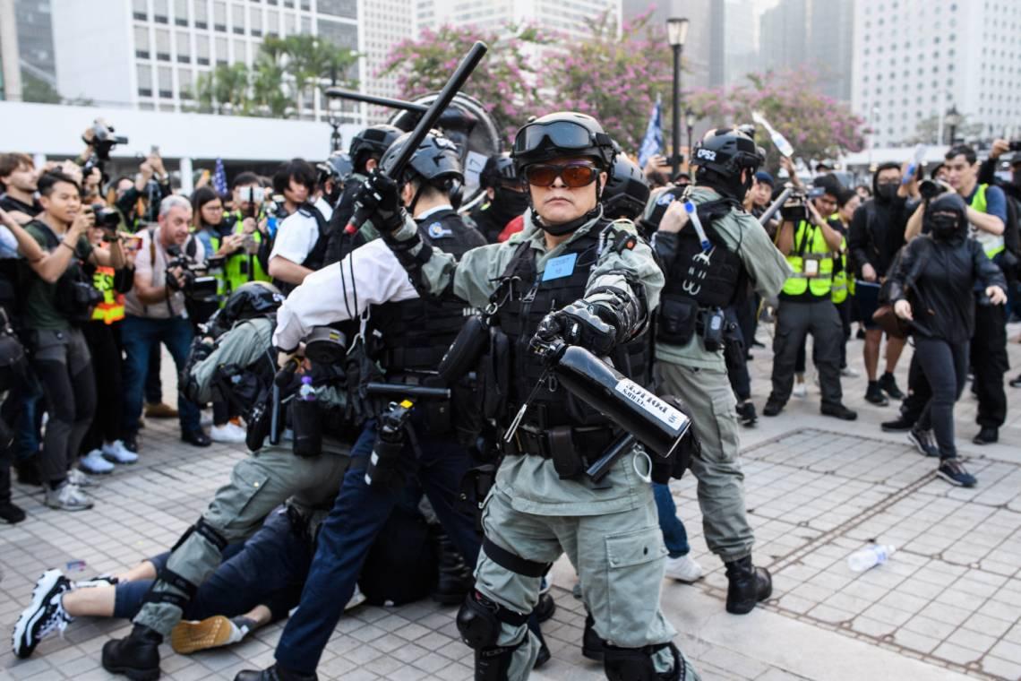Pendant une manifestation à Hong-Kong, en décembre 2019.