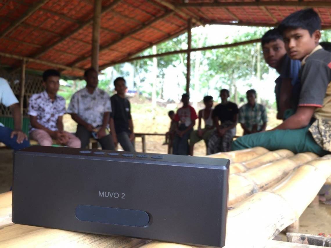 A loudspeaker used to narrowcast the Jamtoli Information Line audio program in the Jamtoli refugee camp, Bangladesh.