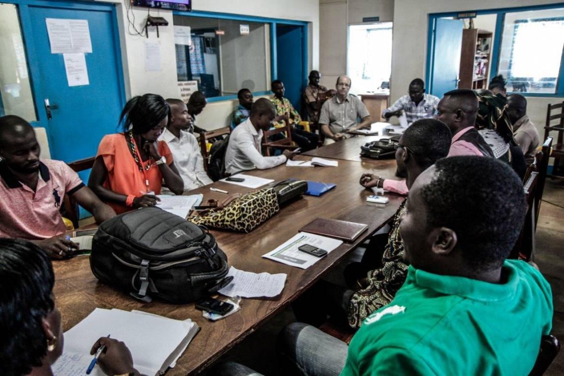 During the daily editorial meeting at Radio Ndeke Luka, Bangui, February 2017.