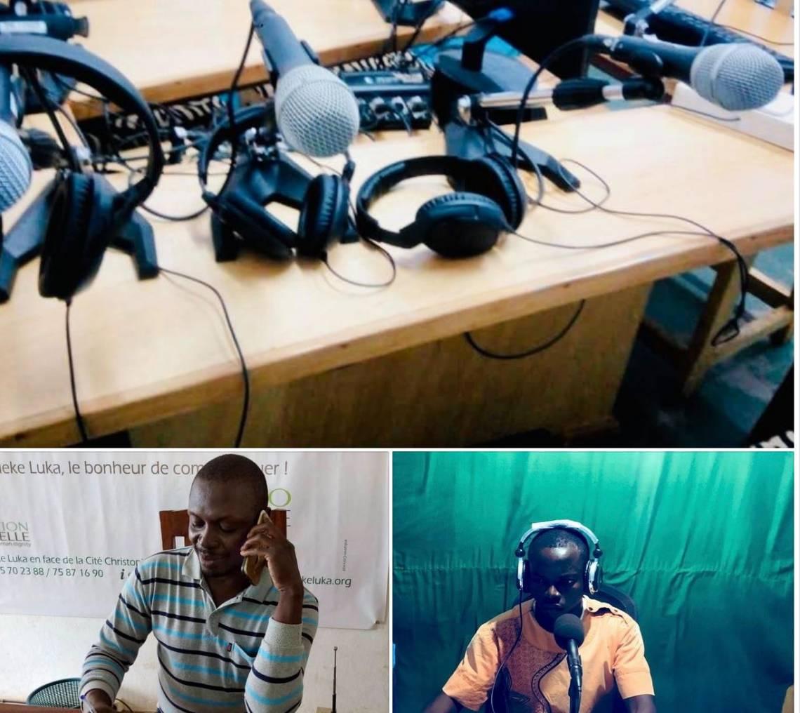 Séance de formation à distance entre le Conseiller aux programmes de Radio Ndeke Luka et une radio partenaire en Centrafrique