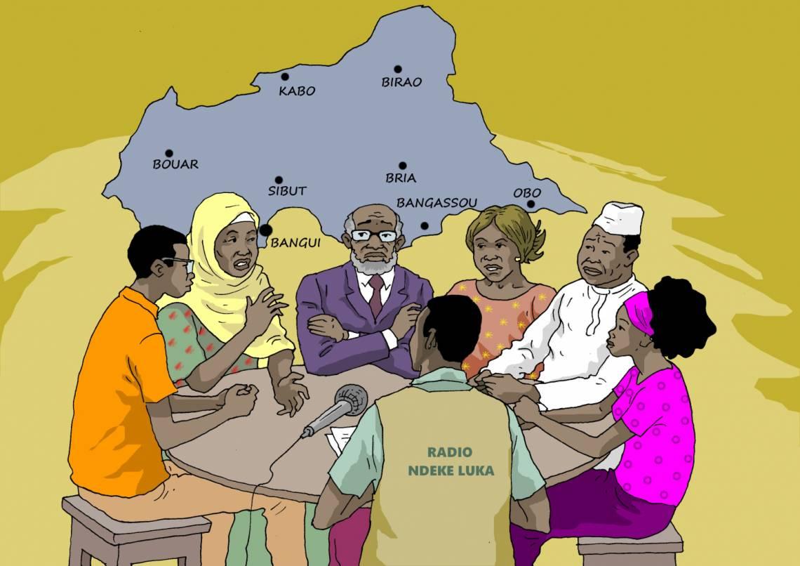 Illustration by Central African cartoonist Didier Kassaï for Radio Ndeke Luka's electoral charter