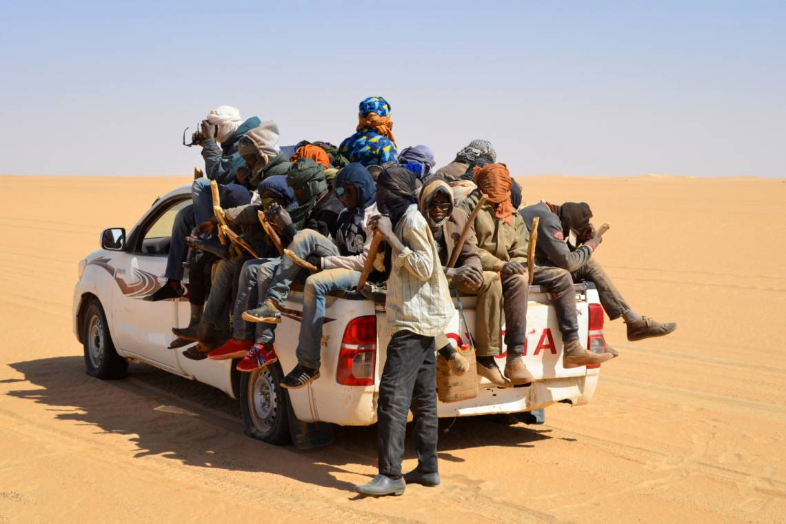 Migrants in the Sahel trying to cross the desert to reach Libya.