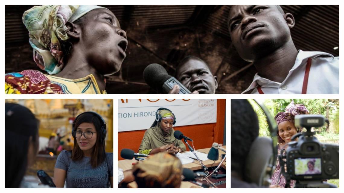 Journalisten und Gäste aus den Medien und Programmen der Fondation Hirondelle in der ZAR, Myanmar, Niger und Mali.