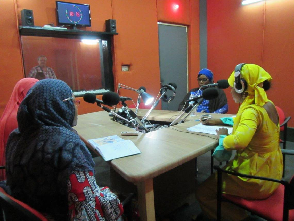 "In the studio during the ""Forum"" daily talk-show, Studio Kalangou, Niamey, Niger."