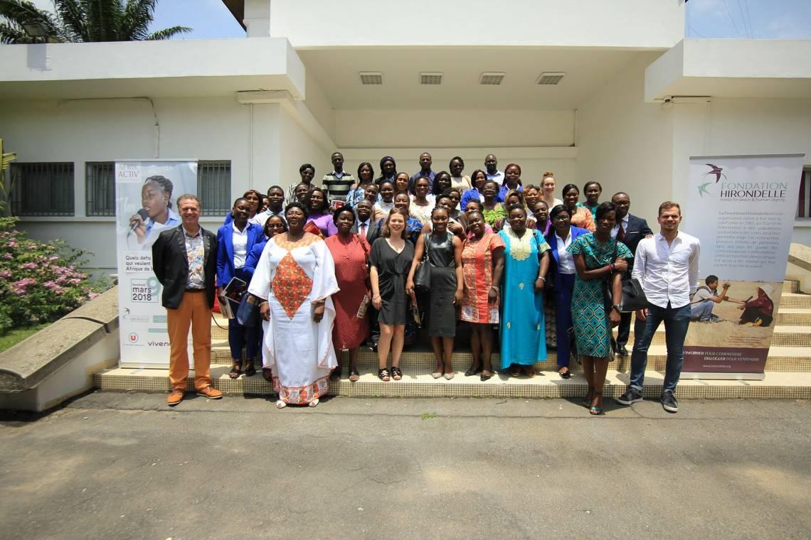 A la sortie du débat organisé par le projet Afrik Activ' de la Fondation Hirondelle à la CCI d'Abidjan le 9 mars 2018.