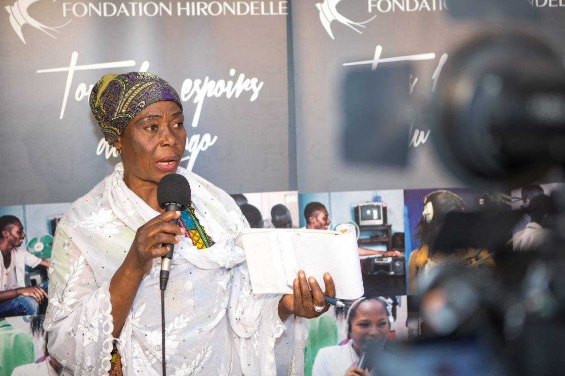 A Congolese woman participating in a debate organised by Fondation Hirondelle in Kinshasa in April, 2017.