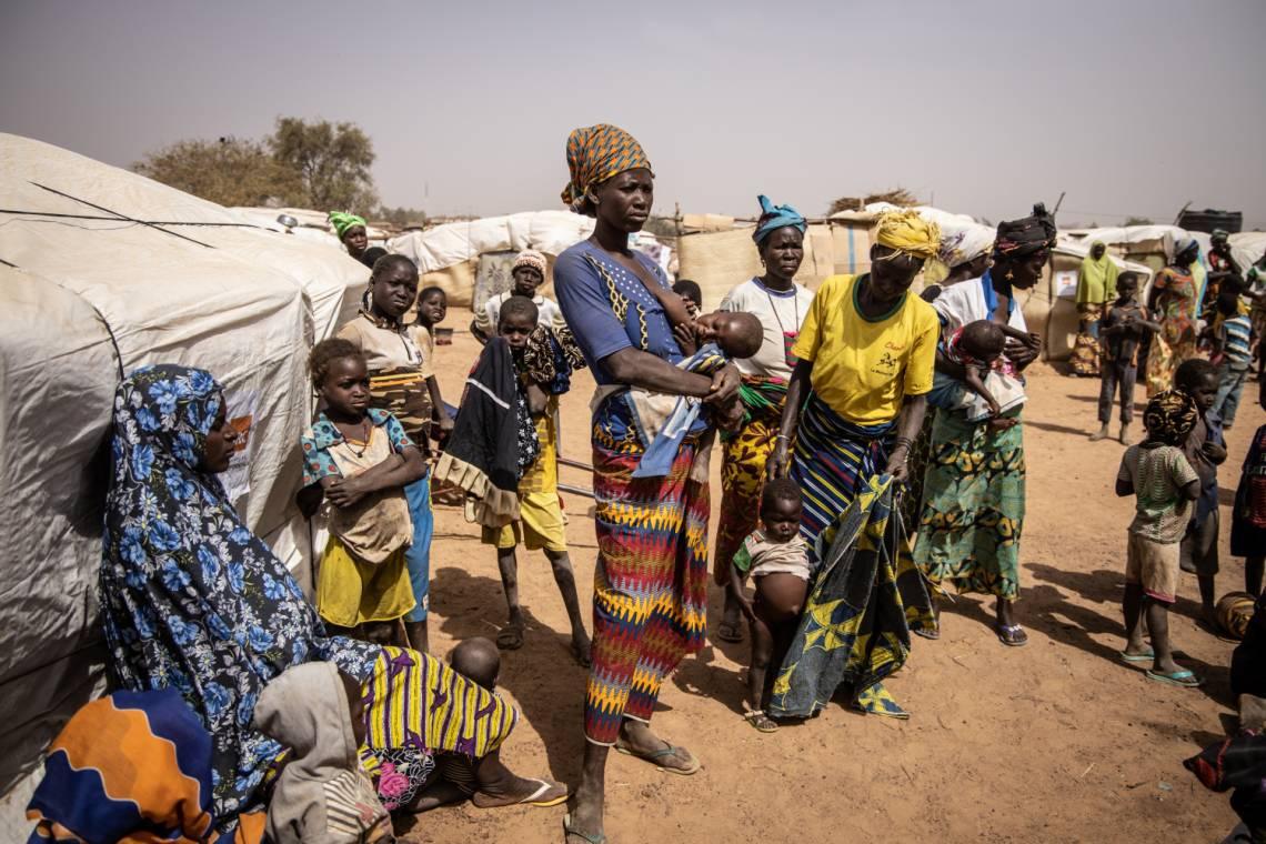 Inside an IDP camp in Barsalogho, Burkina Faso, in January 2020.