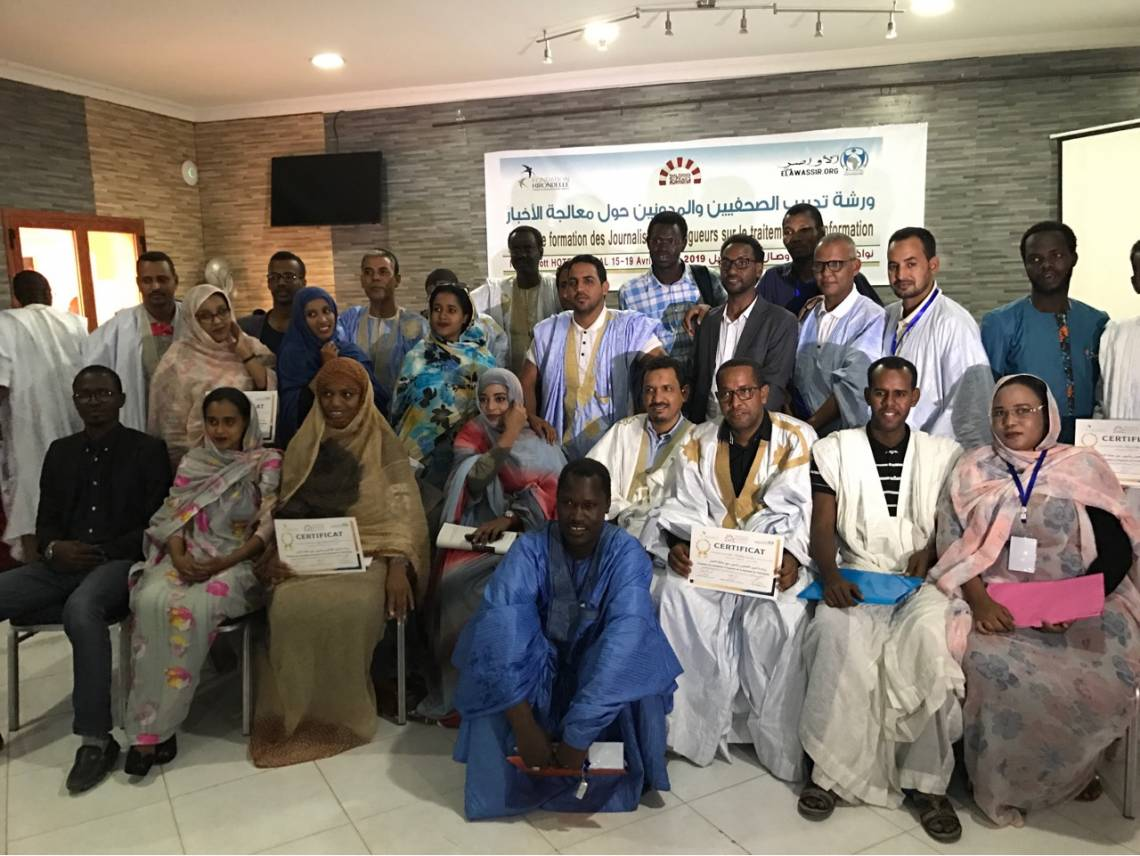 The team of journalists at the end of their training in Nouakchott