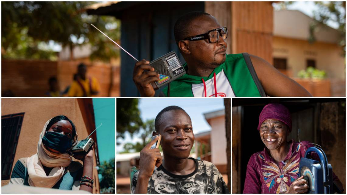 Listeners of Radio Ndeke Luka in Bangui, CAR, and Studio Kalangou in Niamey, Niger.