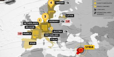 European justice strikes on crimes in Syria: a map produced by Justice Info