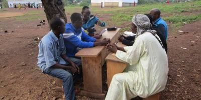At school with Radio Ndeke Luka, in the Central African Republic