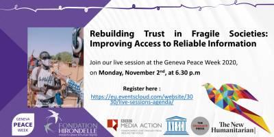 Geneva Peace Week 2020 : information et confiance au coeur des discussions