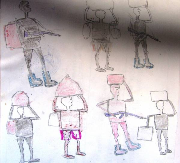 LRA child soldier's drawing.