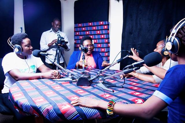 Recording of a debate programme for young people at Studio Yafa in Ouagadougou.